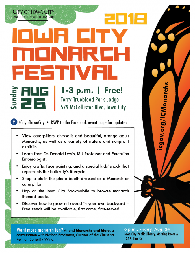 image of flyer for 2018 Iowa City Monarch Festival