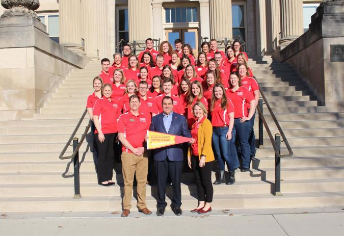 photo of Dr. Daniel J. Robison, Endowned Dean, with 2019 Curtiss League kick-off attendees