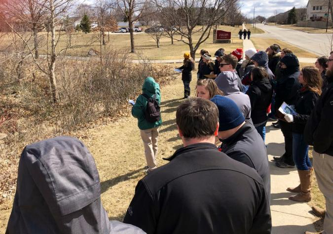 photo of Curtiss League participants touring urban riparian buffer with Jan Thompson in Ames, Iowa