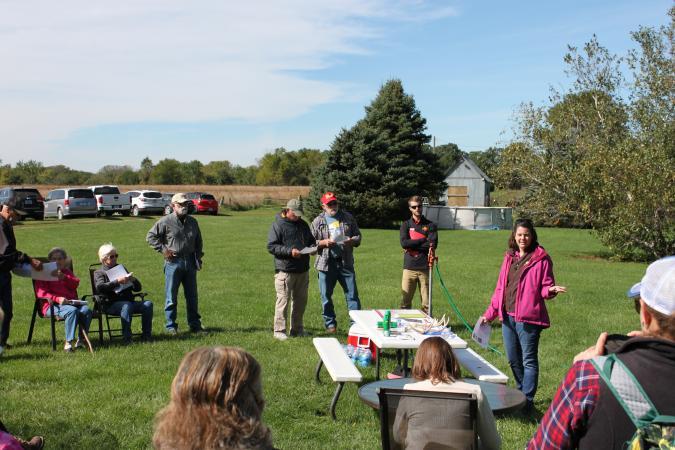 photo of K. Kinkead, Iowa DNR, discussing monarch monitoring in Iowa