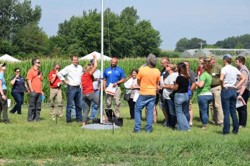 photo of field day attendees at radio telemetry presentation