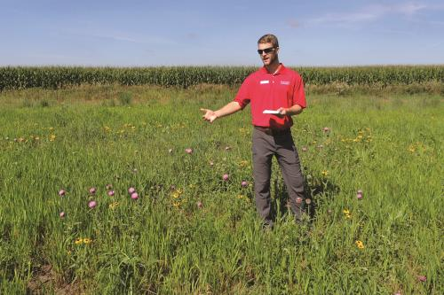 photo of Seth Appelgate at monarch habitat plot